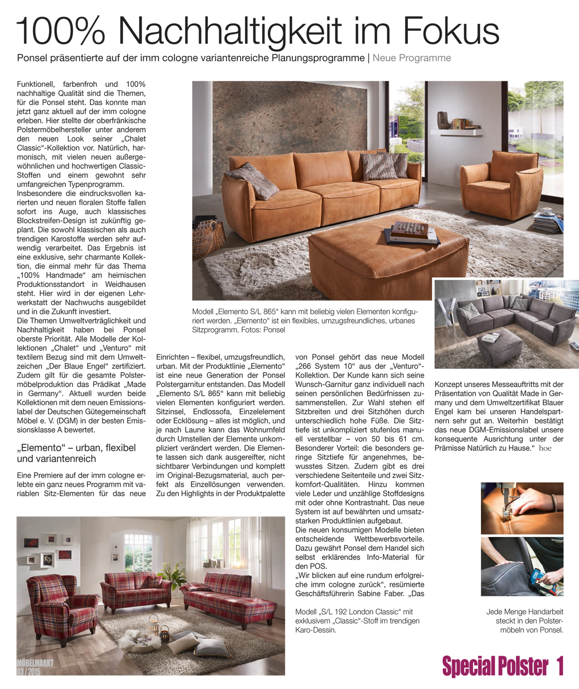 ponsel presseartikel m belmarkt ausgabe 03 2015 spezial polster 1. Black Bedroom Furniture Sets. Home Design Ideas